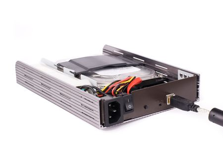Opened mobile rack (portable hdd box) with cord plugged  photo
