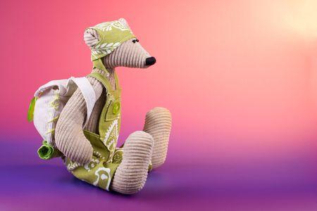 rompers: Juguete de alumno de rat�n vistiendo rompers verdes y mochila, sentado en el degradado de fondo de color