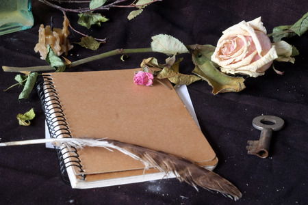 A notebook lies surrounded by dry roses, a candle, a vintage key and a feather. photo
