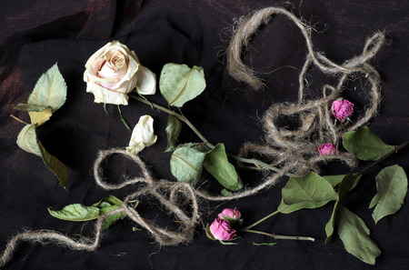 life after death: A dry rose is decorated by a hemp rope, dry leaves and small flowers.
