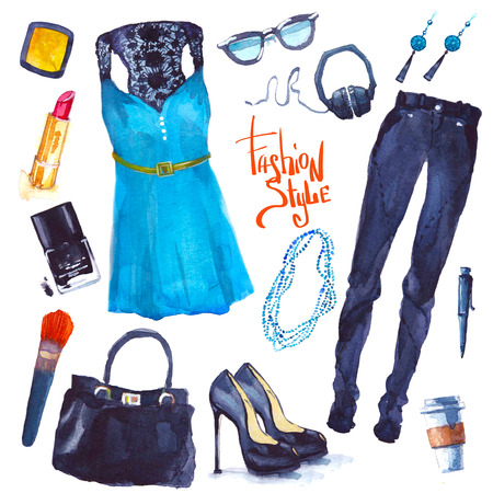 Set of trendy look. Watercolor illustration clothes illustration