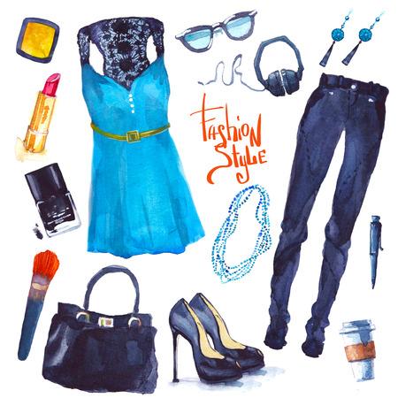 high heel: Set of trendy look. Watercolor illustration clothes