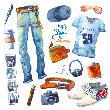 look: Set of trendy look. Watercolor illustration clothes