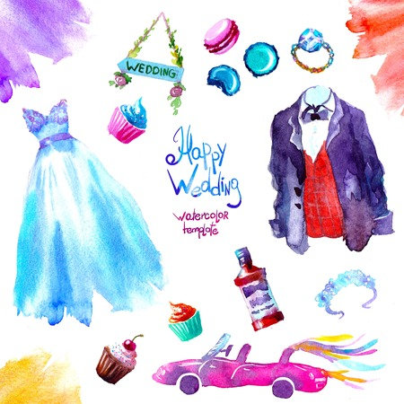 watercolor sweets wedding set illustration. illustration hand draw illustration