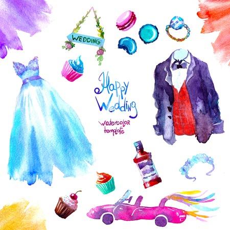 watercolor sweets wedding set illustration. illustration hand draw 版權商用圖片