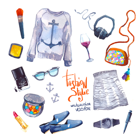 Set of trendy look. Watercolor illustration clothes