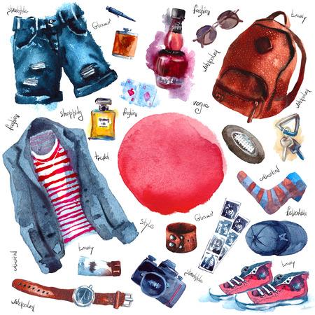 男性は流行の一見の設定します。水彩の服