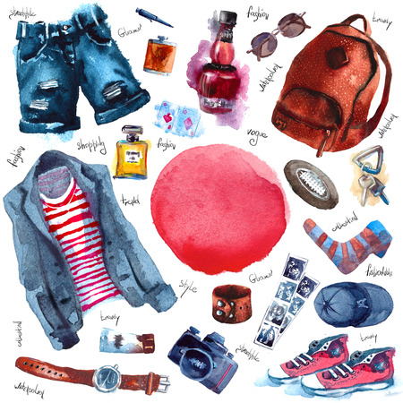 Men Set of trendy look. Watercolor clothes
