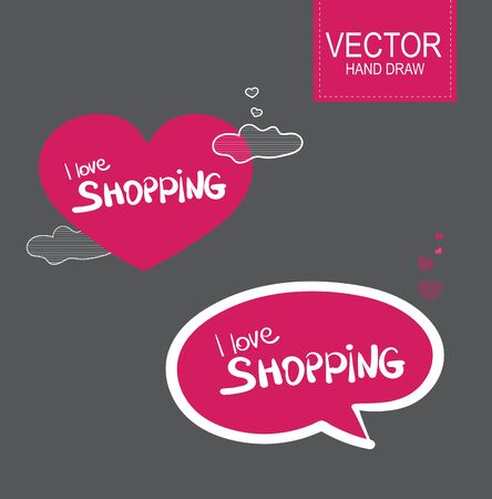 stiker: Vector Stiker label set  . i  love shopping