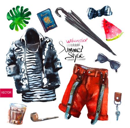 fashion clothing: Watercolor fashion illustration. set of trendy look, watercolor Illustration