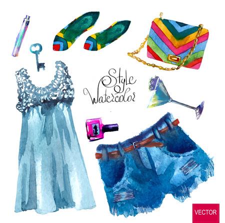 水彩のファッションのイラスト。流行の一見、水彩画のセットします。  イラスト・ベクター素材