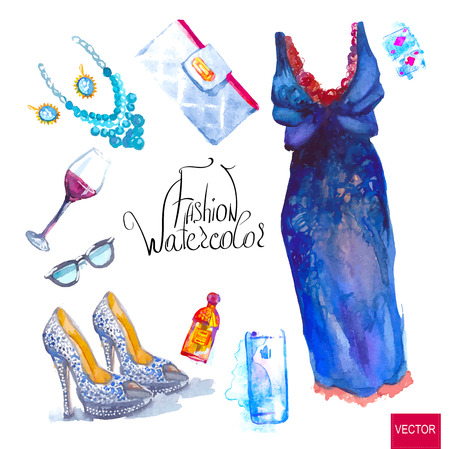 Watercolor fashion illustration. set of trendy look, watercolor Vettoriali
