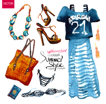fashion set: Watercolor fashion illustration. set of trendy look, watercolor Illustration