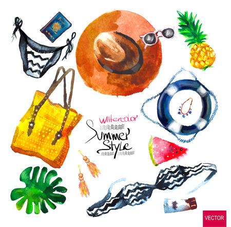 woman accessories: Watercolor fashion illustration. set of trendy look, watercolor Illustration