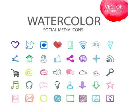 ソーシャル メディアは、世界のコンピューターの通信ネットワーク別の学校ものの水彩セットです。数字と記号のアルファベット。