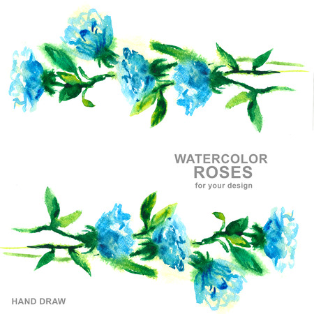 blue roses: watercolor drawing blue roses, hand drawn design Stock Photo