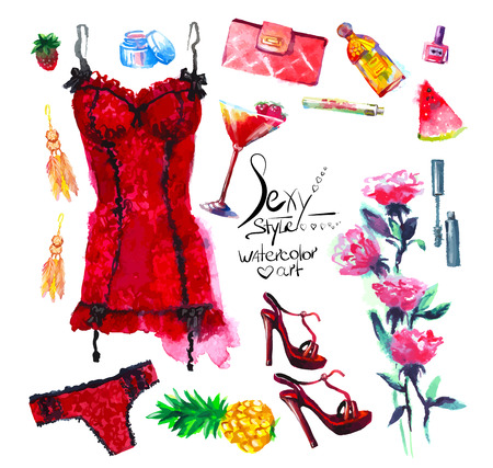 sexy style. Set of  Watercolor set of lingerie Çizim
