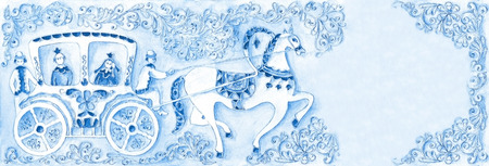 coldly: illustration of a fairy tale, akvaerl. Performed in Russian stiile Stock Photo