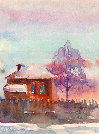 aquarel: Watercolor countryside landscape with house vector illustration