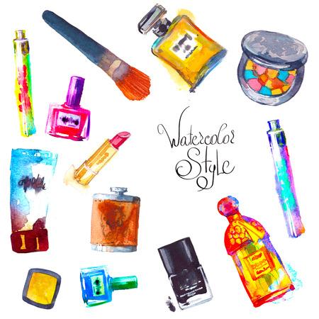 Watercolor cosmetics   with  make up artist objects: lipstic eye shadow brushes nail polish mascara