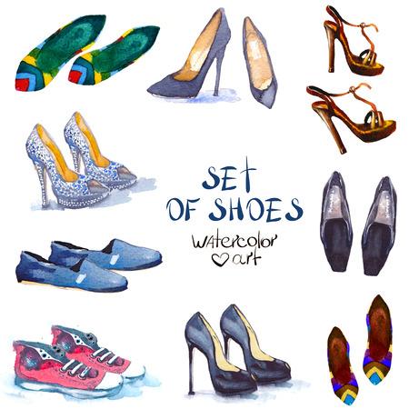 패션입니다. 수채화 세트 신발. 패션 디자인