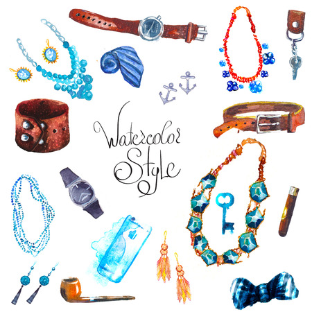 illustration watercolor set of jewellery items. Hand drawn accessories Фото со стока
