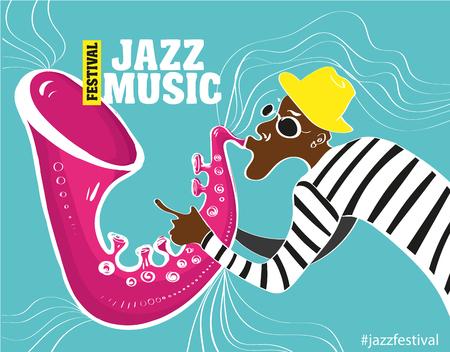 trompeta: Cartel de la música de jazz. Ilustración vectorial de un cartel de jazz con el saxofonista Vectores