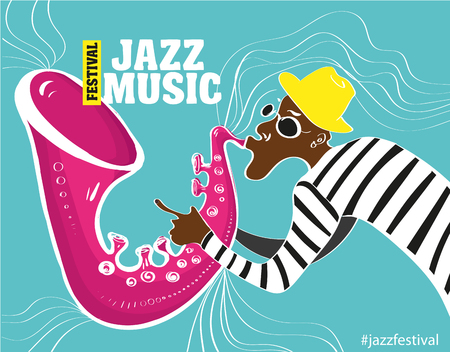 music band: music jazz poster. Vector illustration of a Jazz poster with saxophonist Illustration