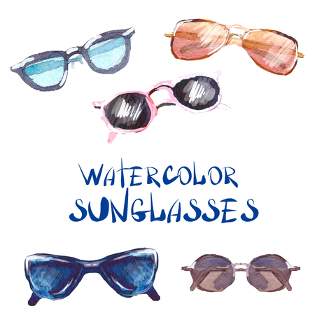 Watercolor sunglasses and glasses isolated on white background