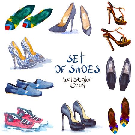 mujeres fashion: Ilustración de moda. set shoes acuarela. diseño de moda Vectores