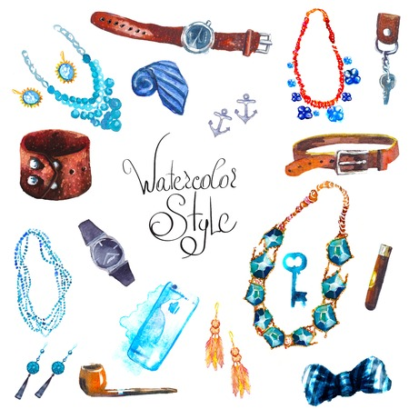 fashion magazine: illustration watercolor set of jewellery items. Hand drawn accessories Illustration