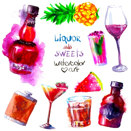 Set of creative alcohol and sweets list. watercolor Illustration