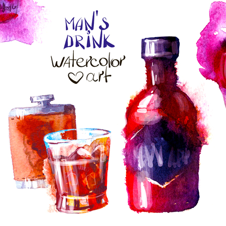 pineapple: Set of creative alcohol and sweets list. watercolor Illustration