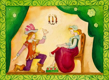 performed: illustration of a fairy tale, akvaerl. Performed in Russian stiile Stock Photo