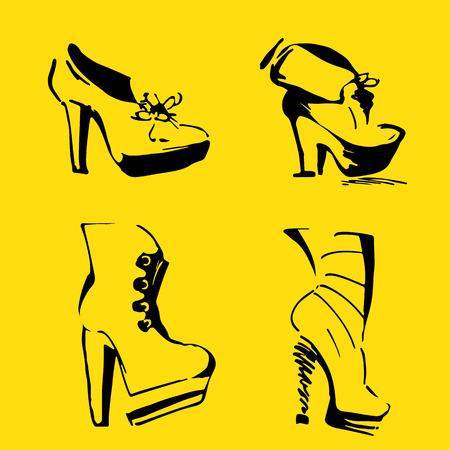 elegant shoes and footwear. Women Heels. hand draw
