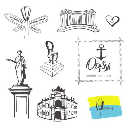 odessa: Odessa icon set ukrainian city duke and opera