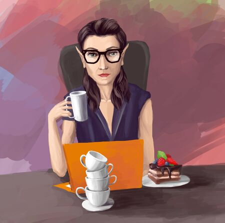 woman smile: Woman in office Work on PC cups cake