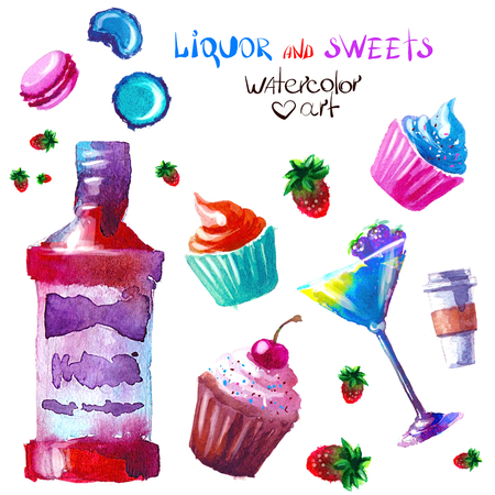 rum cake: Set of creative alcohol and sweets list. watercolor Illustration