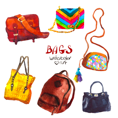 女性のハンドバッグの素晴らしい水彩セットです。図