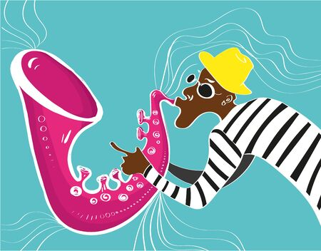 jazz modern: music jazz poster. illustration of a Jazz poster with saxophonist