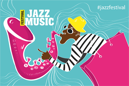 Jazz music festival, poster background template. Keyboard with music notes. Flyer Vector design. Illustration