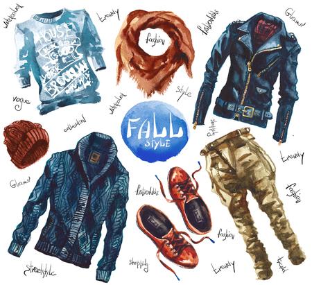 trendy: Men Set of trendy look. Watercolor clothes