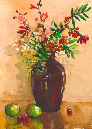 vase of flowers: Painting. Still life with vase, flowers, fruit, rowan . It can be used to create packages, gift cards and design