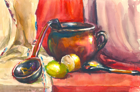still life: Painting. Still life with jug, kitchen spoon, fruit and draping. It can be used to create packages, gift cards and design