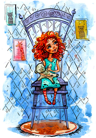 petite: Watercolor Hand drawing illustration. Girl with a bear on a chair. Stock Photo