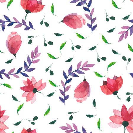 Aquarel bloemen behang naadloze patroon of achtergrond