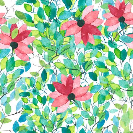 花の水彩画の壁紙のシームレスなパターンや背景 写真素材