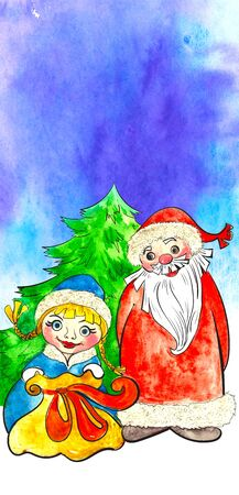 grandfather frost: Russian Christmas characters Ded Moroz, Father Frost, and Snegurochka, Snow Maiden standing at the Christmas tree with gifts Stock Photo