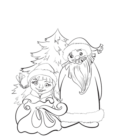 father frost: Russian Christmas characters Ded Moroz, Father Frost, and Snegurochka, Snow Maiden standing at the Christmas tree with gifts Illustration