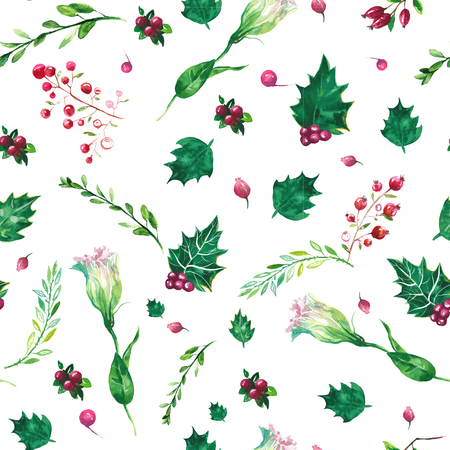 christmas wallpaper: botanical Pattern. Christmas ornaments  painted with watercolors. Stock Photo